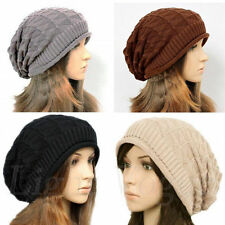 Women Winter Plicate Baggy Beanie Knit Crochet Ski Hat oversized Xmas Cap New