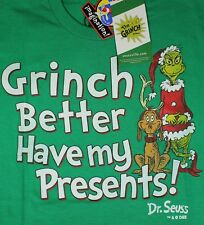Mens Dr Seuss Grinch Better Have Presents T-Shirt Tee S/Slv Green NWT S/M/L/XL