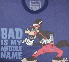 Mens Disney Big Bad Wolf Bad Is My Middle Name T-Shirt S/Slv Blue NWT L/XL/2X