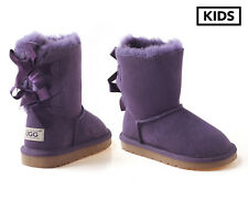 Ozwear Connection Ugg Kids Double Ribbon Boots - Purple