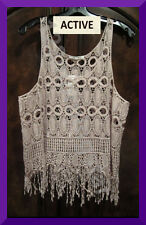 ACTIVE NEW Allover Crochet Medallions Sleeveless Taupe/Beige Cami Tank Top M