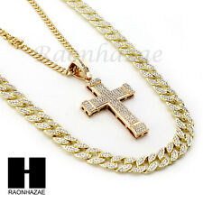 ICED OUT JESUS CROSS PENDANT 6mm CUBAN/12mm ICED OUT CUBAN CHAIN NECKLACE S025