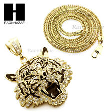 "Men Iced Out Drake Tiger only Pendant or w/ 4mm 36"" Franco Chain Necklace FS009"