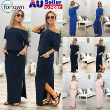 Womens One Shoulder Long Maxi Ladies Party Evening Beach Casual Dress size 6-18