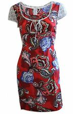 Monsoon Red & Blue Floral Summer Tunic Dress Size 10 - 16 - New