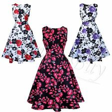 Floral Print Women 1950s Vintage Dresses Cap Sleeve Cotton Swing Dance Dress