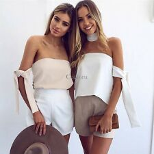 Women Sexy Elegant Strapless Off Shoulder Asymmetrical Blouse Top CO9901