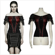 Punk Rave T-446 Black Red Gothic Steampunk Victorian Wide Boat Neck Sexy Shirt