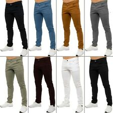 New KRUZE Mens Slim Fit Chinos Stretch Skinny Pants Casual Smart All Waist Jeans