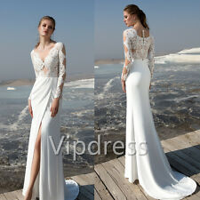 Mermaid Long Sleeve Wedding Dresses Lace Applique High Split Bridal Gowns Custom