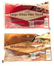 Leicester Bakery Pitta Bread. 6 per pack. Large White Pitta, Wholemeal Pitta