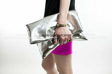 Large Designer Metallic Gold Silver Fold Over Clutch Leatherette Handbag Purse