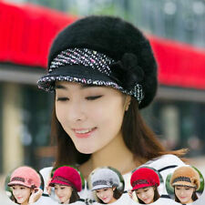 Women Braided Warm Baggy Knit Winter Hat Slouch Crochet Rabbit Fur Cap NEW MZ290
