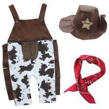 Baby Boy Halloween Cowboy Western Sheriff Fancy Costume Outfit + Hat Set 6-24M