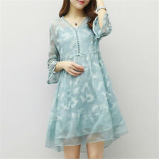 Women's Chiffon Loose Floral Party Beach Dress Graceful Flare Sleeve Light Blue