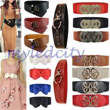 Lady Fashion Stretch Buckle Waist Belt Bow Wide Leather Elastic Corset Waistband