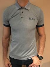 HUGO BOSS POLO SHIRT BY BOSS GREEN MODERN FIT GRAY STRETCH COTTON NWT S M L