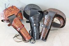 "NEW 38/357 CAL Tooled Holster Gun Belt Drop Loop LEATHER Western RIG SASS 34""-52"
