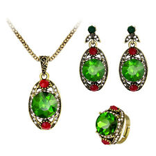 Women Retro Green Rhinestone Pendant Necklace Earrings Ring Jewelry Set Optimal