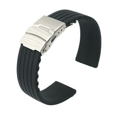18 20 22 24mm Black Silicone Rubber Waterproof Wrist Watch Band Belt Strap Clasp