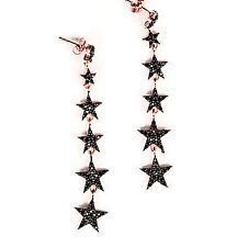 Genuine 925 Sterling Silver White Zirconia Star Earrings Dangle