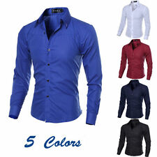 New Fashion Mens Casual Shirts Slim Fit Long Sleeve Casual Dress Shirts Tops