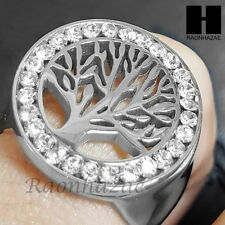 316L STAINLESS STEEL TREE OF THE LIFE  SILVER TONE CUBIC RING 6-9 SB001S