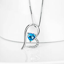 925 Sterling Silver Blue CZ Crystal Forever Love Heart Pendants Necklace / Chain