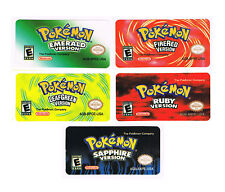 Pokemon GBA Gameboy Advance Replacement Labels Stickers Emerald FireRed Sapphire