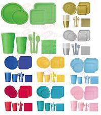 PARTYWARE - NAPKINS PLATES CUPS PLASTIC CUTLERY TABLECLOTHS TABLECOVER PACKS
