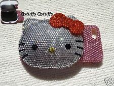 3D Hello Kittycompact mirror fits iPhone crystal case bling RED bow diamonds
