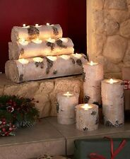 Fireplace Candle Holder Rustic Log Tealight Tea Light Mantle Centerpiece Table