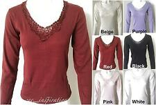 Ladies Pure Cotton V-Neck Long Sleeve Thermal Top  (Sz 10 - 22)