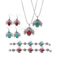 Silver Engraved Beetle Oval Turquoise Jewelry Set(Necklace,Earrings,Bracelet)