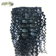 """24"""" 26"""" 28""""  10pcs 120g Deep Wave Curly Clip In Human Hair Extensions Hair Weft"""