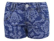 Ladies Womens Patterned Denim Hotpants Shorts Detailed Floral Beach Holiday Mini