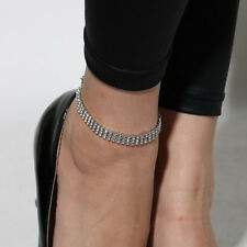 Three Rows Clear Rhinestone Silver Color Stretch Anklet Foot Bracelet for Women