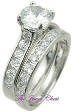 Diamond Solitaire Engagement Wedding ring set White Gold Channel setting