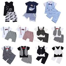 2PCS Kids BABY Boys Short Sleeve T-shirt + Shorts Pants Casual Outfits Clothes