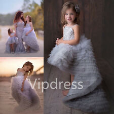 Spaghetti Hi-Lo Flower Girl Dresses Lace Applique Pleated Ruffled Prom Ball Gown