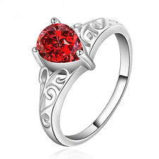 Unisex Waterdrop Faux Ruby Zircon Silver Plated Solitaire Ring Love Gift New