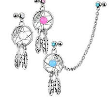 Dream Catcher Helix Tragus Cuff Ear Piercing Cartilage Stud Dangle Earring Saucy