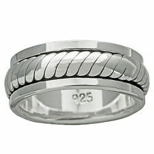 Braid Band Twisted Rope Spinner Ring 9-10g 925 Sterling Silver 8mm BELDIAMO