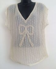 New Ex NEXT Cream Lace Beaded Bow Print Summer Hoilday Blouse Top Size 6-16