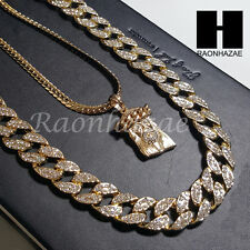 "Iced out 14k Gold PT Jesus 5mm Miami Cuban Chain /30"" Iced Out Chain Necklace S8"