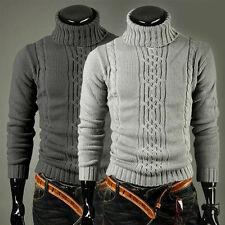 Fashion Mens Slim Fit Pullover Cardigan Sweater Coat Turtleneck Casual Knit HH
