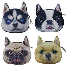 Girls Dog Face Zipper Case Wallet Makeup Cosmetic Bag Card Keys Pouch Coin Purse