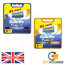 Gillette Fusion ProGlide and Power Razor Blades x 8 XL Pack  GENUINE UK FREE P&P