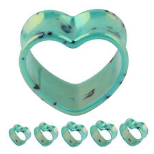 "Splatter Turquoise Heart Double Flare Tunnels Ear Gauge Plugs 2G-1"" Body Jewelry"