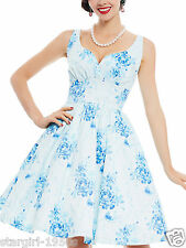 Women 1950s Vintage Floral Print Pin Up Swing Dress Cocktail Prom Dress Size XL